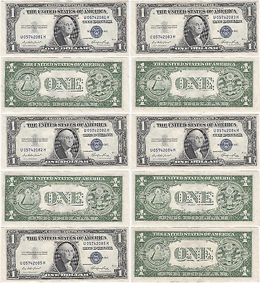 1935 E $1 5 Consecutive Numbered Silver Certificates FR 1614 AU