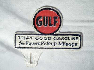 Cast Iron Gulf That Good Gasoline Power Car License Plate Topper Fob Advertise