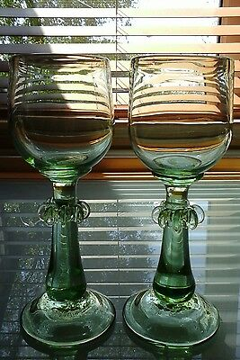 Two Rare Large 1980 Signed And Dated Karlin Rushbrooke Art Glass Goblets