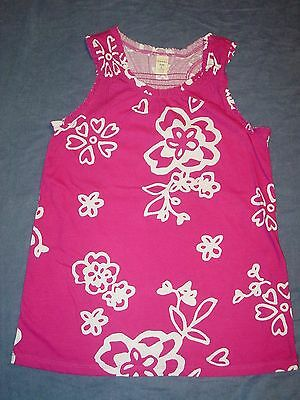 NEW NWT Girls Summer TANK TOP by OLD NAVY - Sz 10-12 - Fuchsia w/ FLOWERS