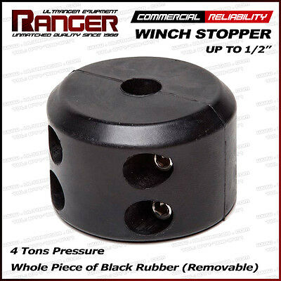 "Ranger Removable Rubber Winch Stopper Line Saver for Up to 1/2"" Rope or Cable"