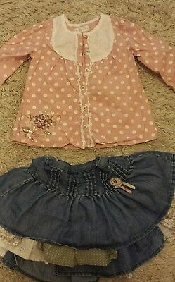 Girls outfit 9-12 months Mamas and Papas. Top and skirt. Ex cond