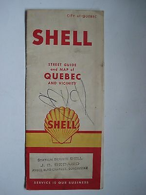 Map City Of Quebec Canada Shell 1960