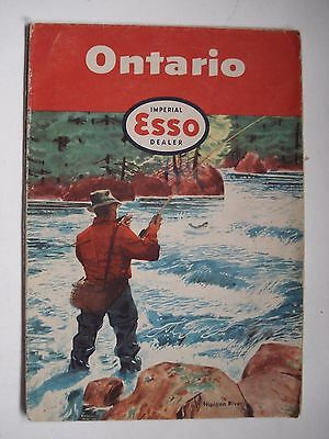 Map Ontario Canada Imperial Esso Dealer 1955 Nipigon River