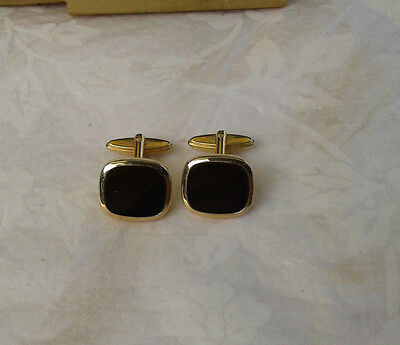 Pair of Gold Coloured Metal Cufflinks With Black Onyx Style Panel