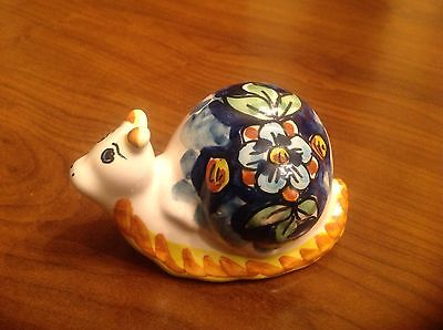 Caltagirone Italian Pottery ceramic Snail by Marilena R. Hand painted