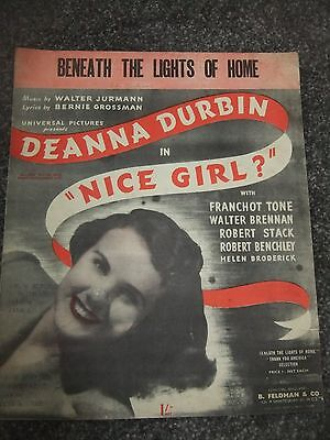 Vintage Piano Music Sheet - Beneath the Lights of Home - Deanna Durbin