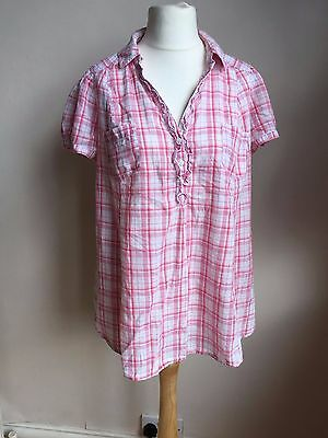 H&M Mama Pink Checked Maternity Shirt Large