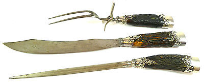 American Cutlery Company Carving Set Antler Horn & Sterling Silver Handles