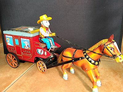 RARE ICHICA OVERLAND STAGE COACH CRAGSTER TIN TOY JAPAN  1950s BATTERY OPERATED