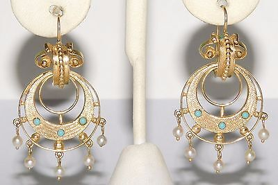 AMAZING Antique Victorian 14k Yellow Gold Turquoise & Pearl Pierced Earrings
