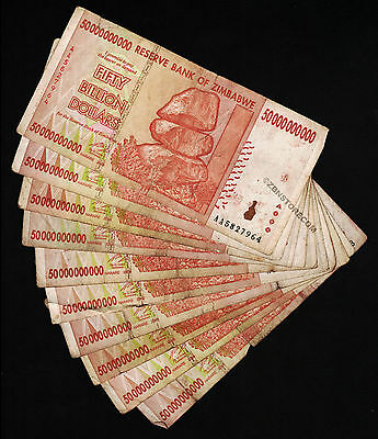 50 Billion Zimbabwe Dollars x 10 Banknotes AA AB 2008 *Damaged Condition* 10PCS