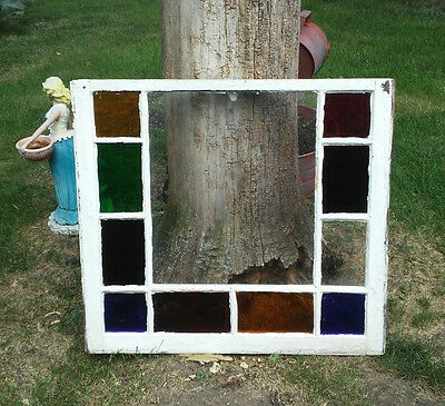 Antique Stained Glass Window Pane Multi-Colored White Painted Wood Shabby-Chic