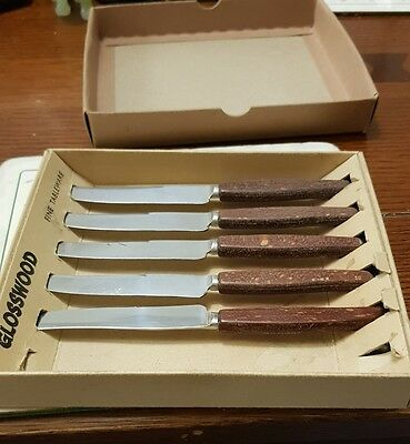 Boxed Set of 5 Glosswood Tea Knives. Cutlery Butter Vintage Retro