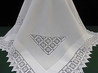Antique Irish Linen Tablecloth-Lovely Hand Crochet-42""