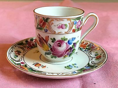 Carl Thieme Dresden  hand painted floral  reticulated demitasse cup & saucer no3