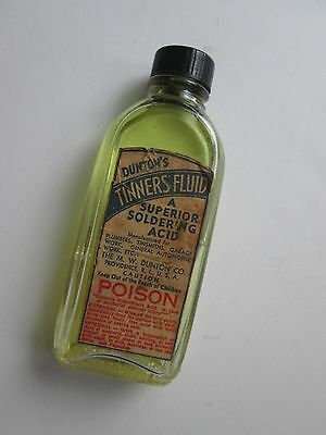 Bottle of Dinton's Tinners Fluid-A Superior Soldering Acid. Half Full+ Poison