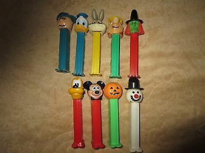 Lot of 9 Older Pez Dispensers With Feet
