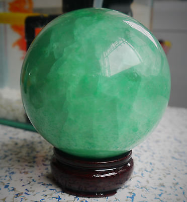 90MM +Stand 1500G  Glow In The Dark Stone crystal Fluorite sphere ball++
