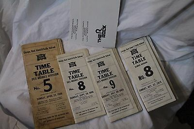 Chicago Rock Island & Pacific Railroad Timetables (4) and Unused Sales Envelopes