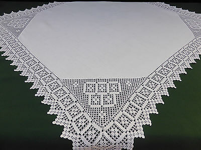 Antique Irish Linen Tablecloth-Deep Hand Crochet Corners