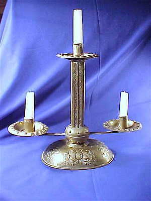 Antique stamped repousse brass candelabra candlestick Primitive 19th C. French?