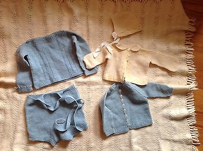6 Piece Vintage Hand Knit Wool Baby Clothes And Blanket Lot