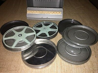 VINTAGE  8MM Home Vacation MOVIES REELS CANISTERS & METAL STORAGE BOX