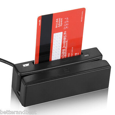 US 2in1 USB 3Track Magnetic Stripe+IC Chip Credit Card Reader/Writer Swipe New