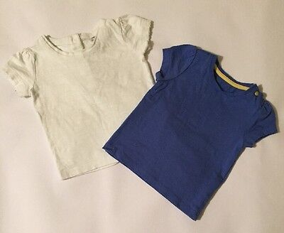 Mothercare & F&F Baby Girls X2 Short Sleeve T-shirts 6-9 Months Tops Blue White