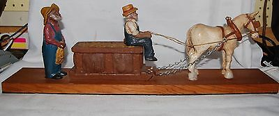 """1980 TNT 21"""" Long Tobacco Sled, Horse and 2 Black American Workers"""