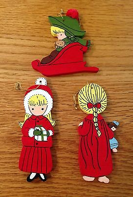 Vintage JOAN WALSH ANGLUND KIDS  LOT 3 Wooden  CHRISTMAS ORNAMENTS Charming!