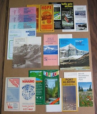 Lot Of Eleven Vintage British Columbia Travel & Attraction Brochures