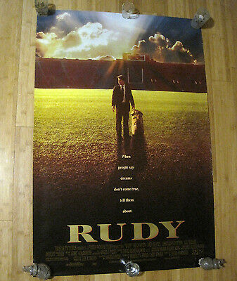 "Rudy Original 1993 Two Sided Movie Poster 27"" X 39 1/2"""