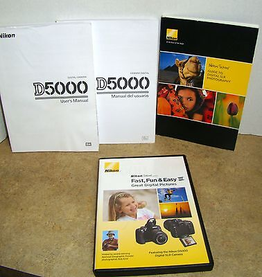 NIKON D5000 USERs MANUAL~NIKON SCHOOL FAST-FUN & EASY3 DVD~DIGITAL PHOTOGRAPHY