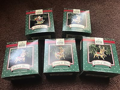 Hallmark Ornaments 1992- Santa And His Reindeer Collection Complete Set In Boxes
