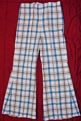 Vintage 1970's Child's BELL BOTTOM Polyester PANTS Blue Brown Plaid & Tunic Top