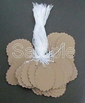 "50 Jewelry Gift Hang Scalloped Oval Tags with White String 1-1/8""x1-1/2"" - Kraft"