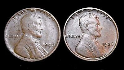 1926-S and 1926-D 1C Lincoln Wheat Penny Collector's 2 Coin Lot Great Conditions