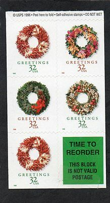 U.S. BOOKLET PANE OF 5 + LABEL SCOTT#3248b 1998 32ct HOLIDAY WREATHS MNH