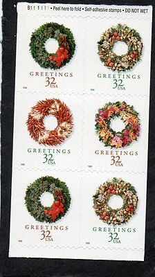 U.S. BOOKLET PANE OF 6 SCOTT#3248c 1998 32ct HOLIDAY WREATHS MNH P#B111111