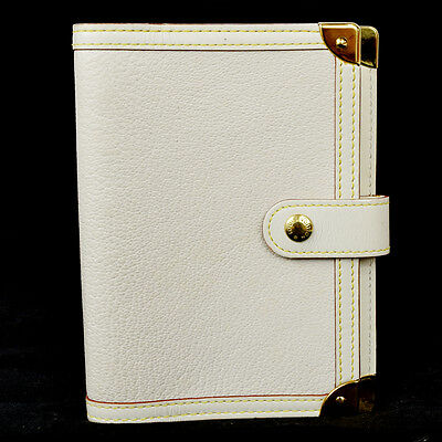 Auth LOUIS VUITTON Agenda PM Notebook Cover Suhali Leather White R20888 01H636