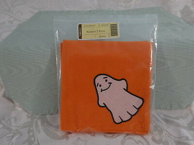 Longaberger 2-pack Square Orange Fabric Halloween Ghost Napkins