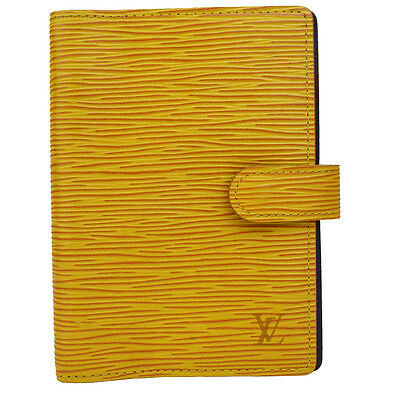 Auth LOUIS VUITTON Agenda PM Day Planner Cover Epi Leather Yellow R20049 07Q166