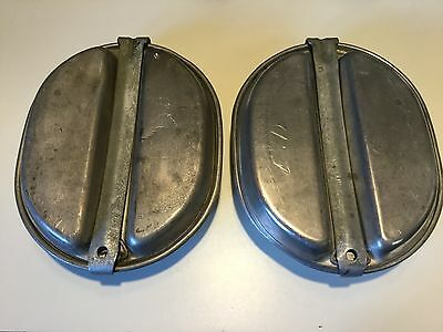 2 Vintage US Military Stainless Steel Mess Kits no identifing markings.