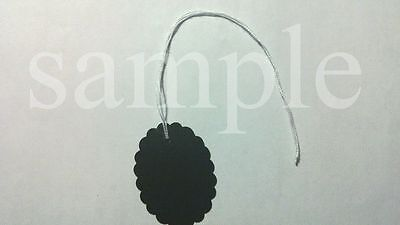 "50 Jewelry Gift Hang Scalloped Oval Tags with White String 1-1/8""x1-1/2"" - Black"