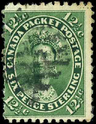 Canada #18ii used VG 1859 First Cents 12 1/2c green Queen Victoria CV$30.00