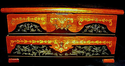 Vintage Reuge Musical Jewelry Box-Detailed Marquetry-Side Slide Out Drawers
