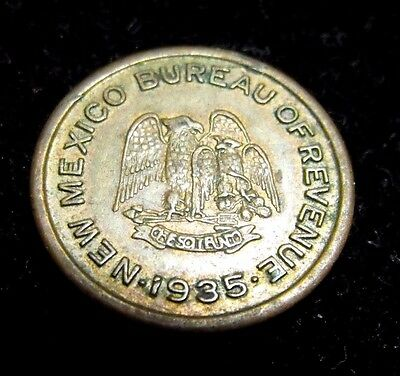 1935 New Mexico 5 Mill School Tax Token on 25C GREAT CONDITION Token