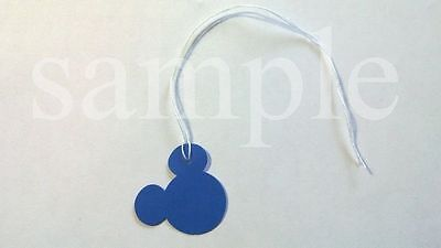 "50 Jewelry Gift Hang Mickey Mouse Tags with White String 1"" x 1"" - Blue"